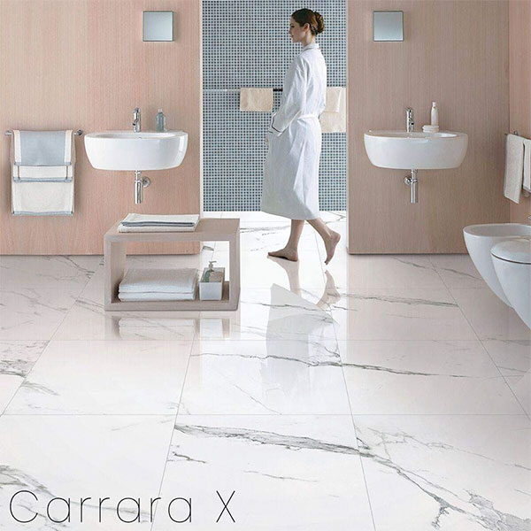 Carrara X polished floor tiles