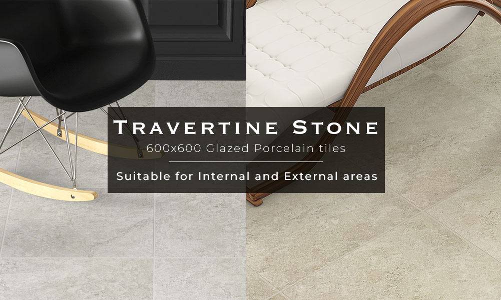 Travertine Stone Glazed Porcelain tiles